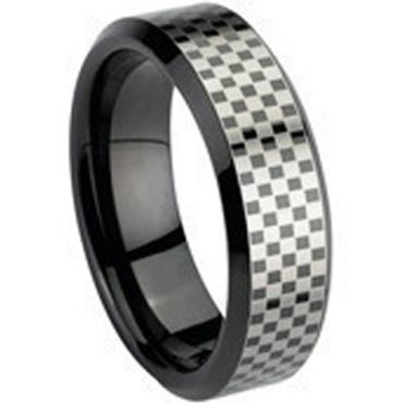 COI Black Tungsten Carbide Checkered Flag Ring - TG670