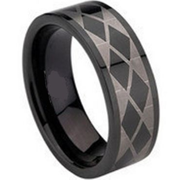 COI Black Tungsten Carbide Checkered Flag Ring-TG675