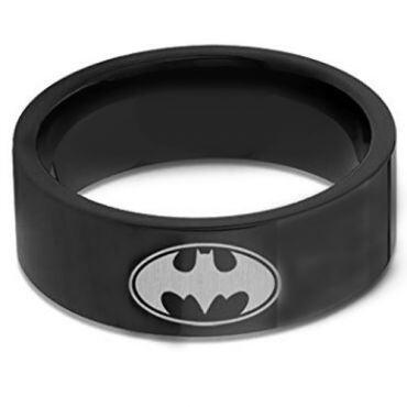 COI Black Tungsten Carbide Batman Pipe Cut Flat Ring-TG676