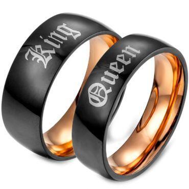 **COI Tungsten Carbide Black Rose King Queen Ring-TG679