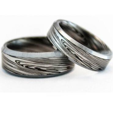 COI Tungsten Carbide Black Silver Damascus Ring-TG729