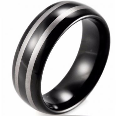 *COI Black Tungsten Carbide Double Lines Dome Court Ring-774BB