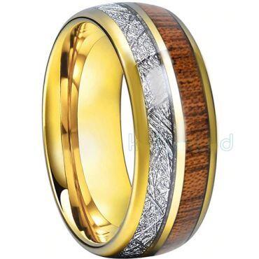COI Gold Tone Titanium Meteorite & Wood Dome Court Ring-1551
