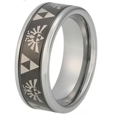 COI Tungsten Carbide Black Silver Legend of Zelda Ring-TG848