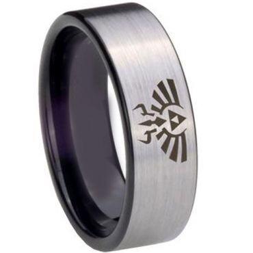 COI Tungsten Carbide Black Silver Legend of Zelda Ring - 852