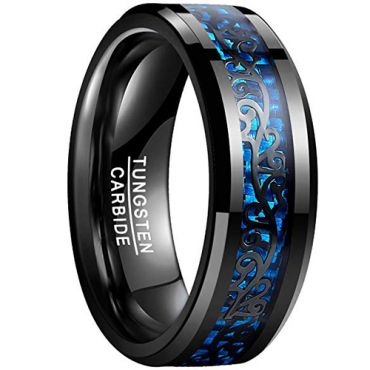 COI Black Tungsten Carbide Ring With Carbon Fiber - TG878BB