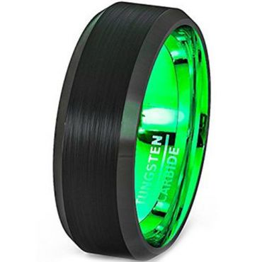 *COI Tungsten Carbide Black Green Beveled Edges Ring - TG2566
