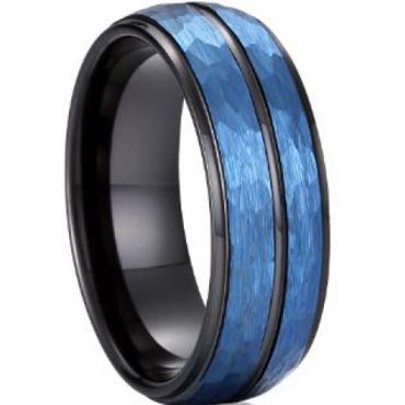 COI Tungsten Carbide Black Blue Sandblasted Ring - TG4042AA