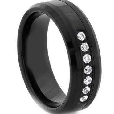 COI Black Titanium Ring With Cubic Zirconia - JT2654AA
