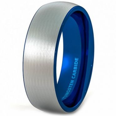 COI Tungsten Carbide Blue Silver Dome Court Ring - TG4355