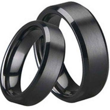 COI Black Titanium Beveled Edges Ring - JT1536