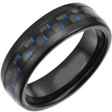 COI Black Titanium Dome Court Ring With Carbon Fiber - 827
