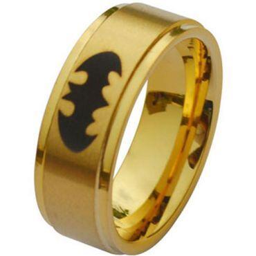 COI Gold Tone Titanium BatMan Step Edges Ring - JT2882A