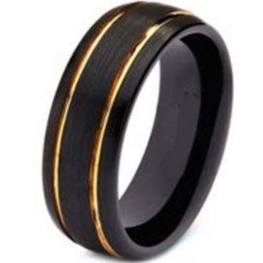 *COI Titanium Black Gold Tone Double Grooves Ring - JT3863